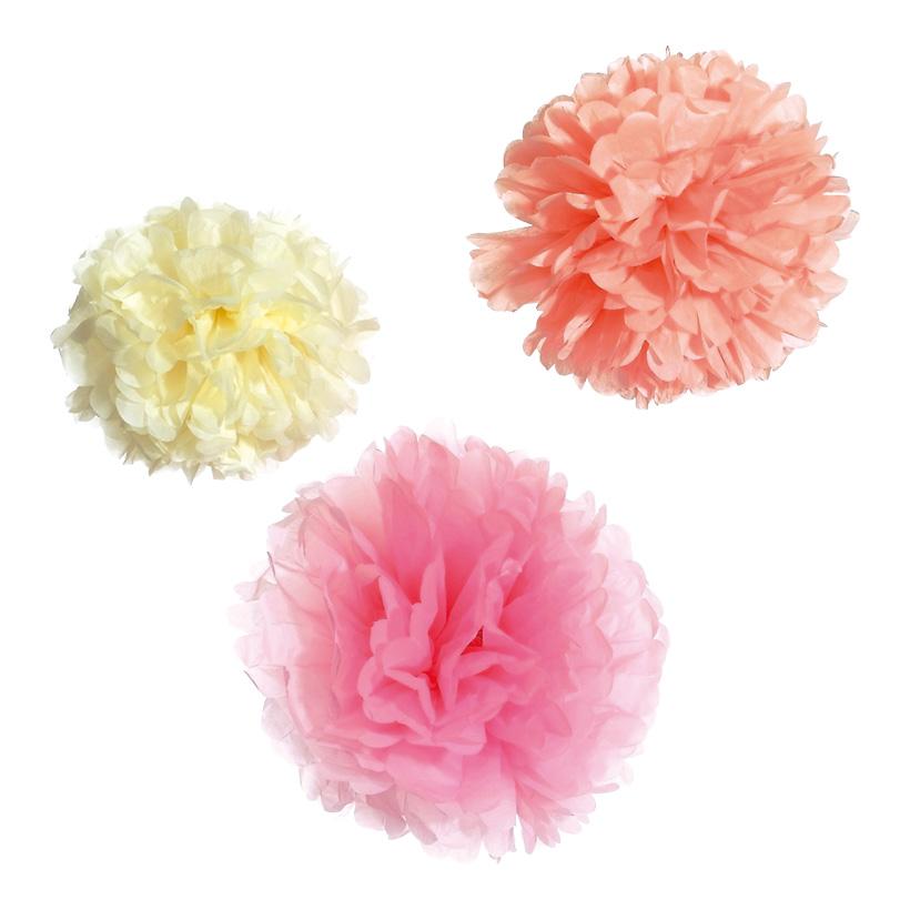 # Blütentuff 25/30/38 cm Papier, 3 Stck./Satz pink/orange/creme