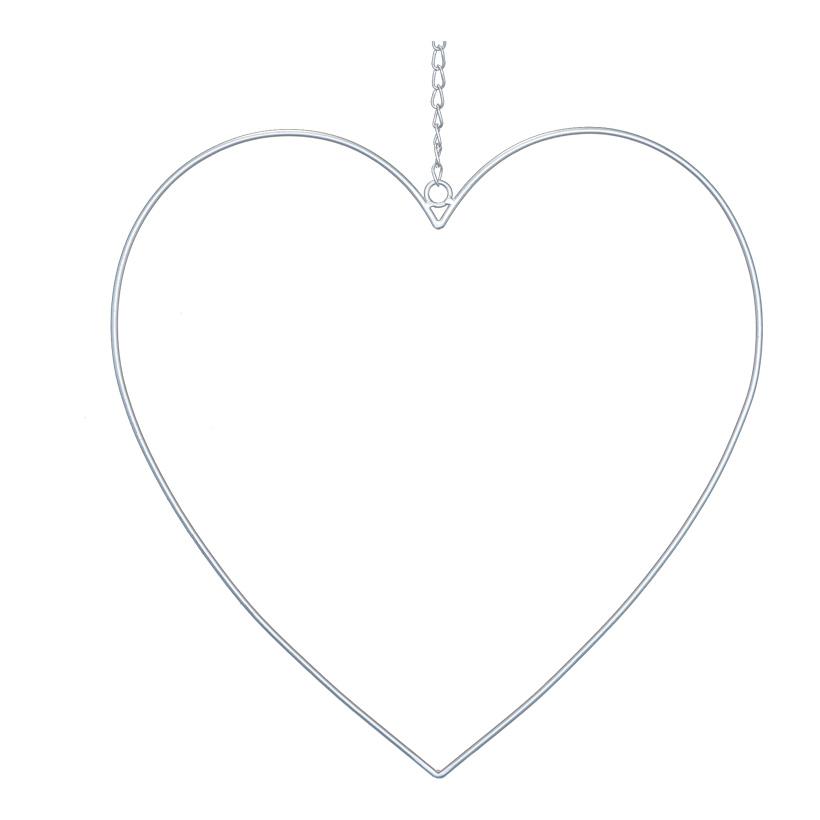 Herzkontur, 40x40cm aus Metall, mit Kette zum Hängen
