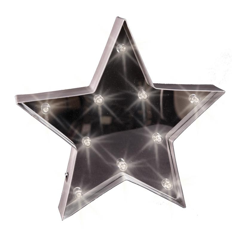 Stern, beleuchtet, Ø 34cm, 10LED Kügelchen, Blech mit Spiegel, Batteriebetrieb, 3xAA nicht inklusive