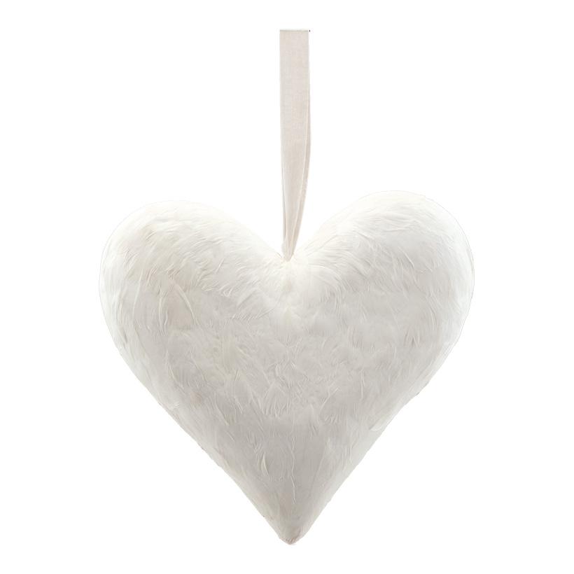 Herz mit Hänger, H: 32cm bezogen mit Federn, aus Hartschaum