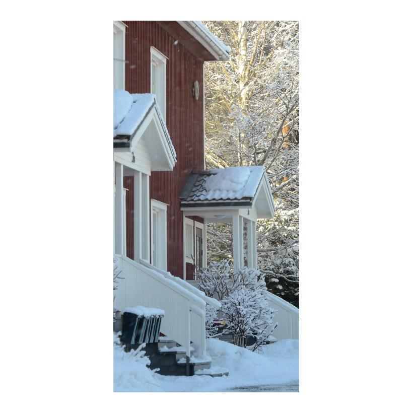 "# Motivdruck  ""Haus im Winter"", 180x90cm Stoff"