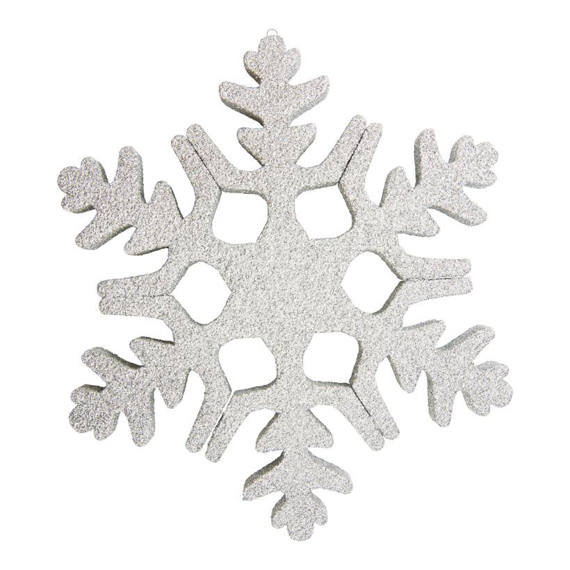 Schneeflocke, 30cm aus Styropor, beglittert, mit Aufhängeöse