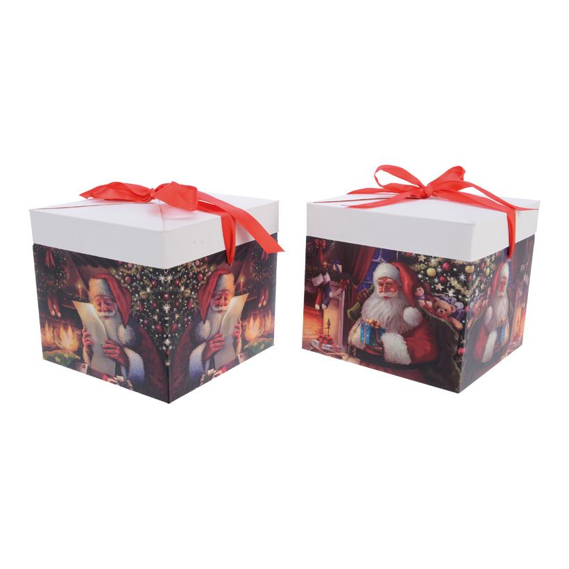 """# Geschenkbox 20x20cm 2 """"Santa""""-Designs sortiert,  im 2er-Set"""