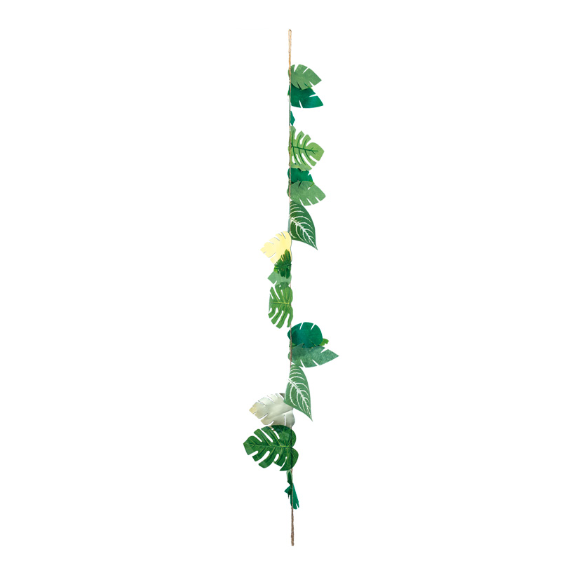 Dschungelgirlande, L: 150cm mit grünen & goldenen Blättern