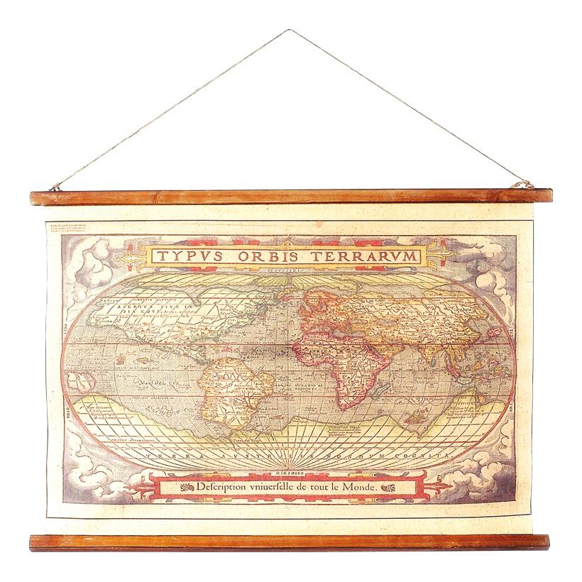 Weltkarte 60x85 cm Holz/Leinwand, antik