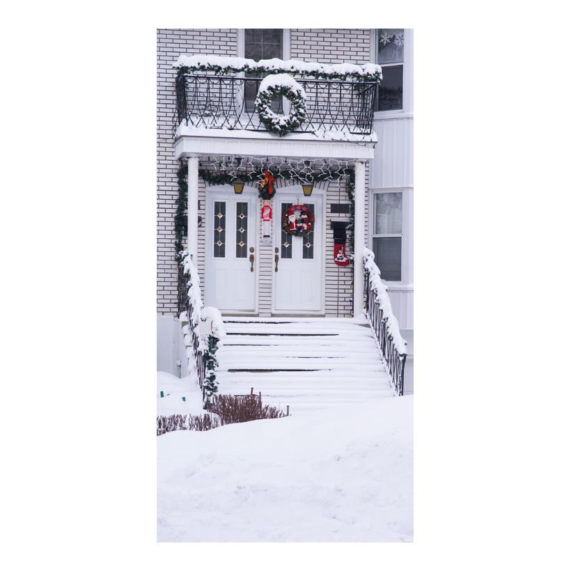 """# Motivdruck """"Verschneiter Eingang"""", 180x90cm Papier"""