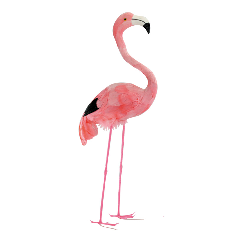 # Flamingo, 55cm, Kopf oben, Kunststoff mit Federn