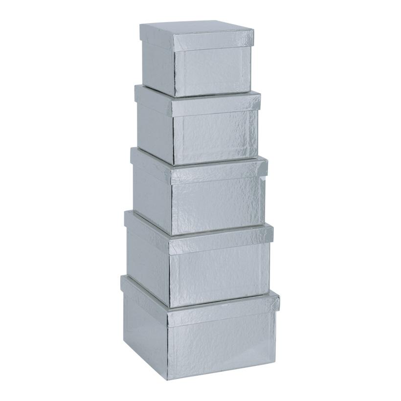 Boxen, 15,5x15,5x10cm - 18,5x18,5x11cm, 5 Stk./Satz, quadratisch, nestend, Pappe