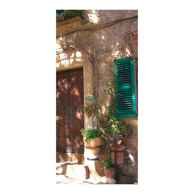 """# Motivdruck """"Sommerliche Hauswand"""", 180x90cm Stoff"""