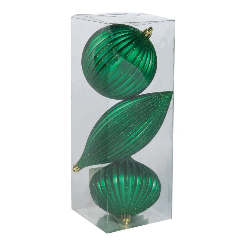 Ornamentkugeln, 10cm mit Hänger, im 3er-Set