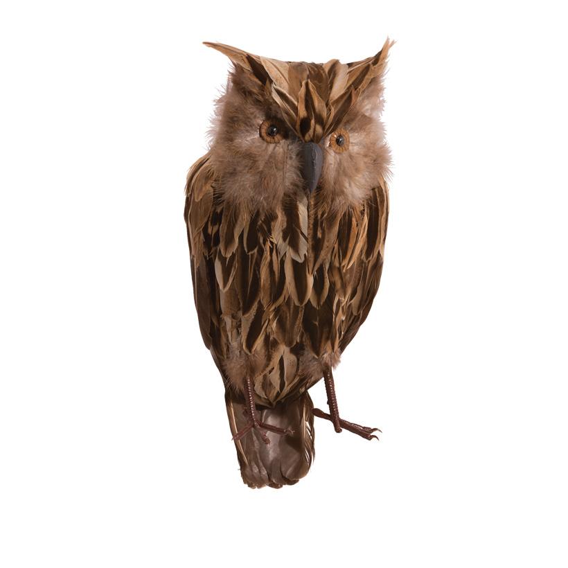 Eule, 35cm, sitzend, aus Kunststoff mit echten Federn