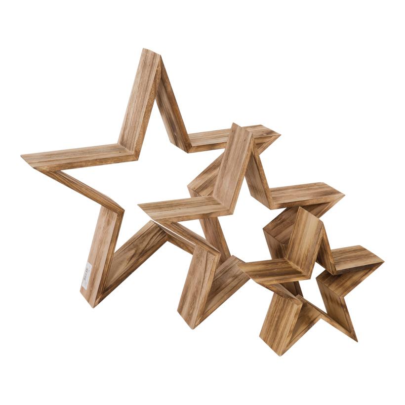 Holzsterne, 50x47,5x9cm+37,5x36x9cm+ 24,5x24x9cm, 3tlg./Satz, ineinander passend