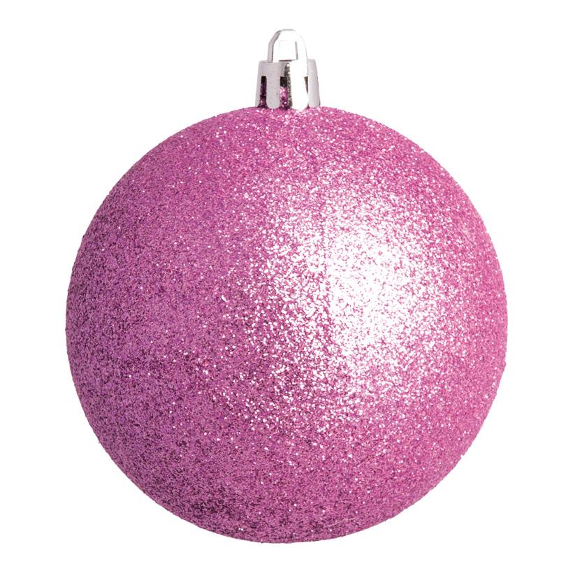 Weihnachtskugel, pink glitter, Ø 8cm 6 St./Blister