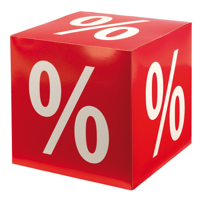 """# Würfel """"%-Zeichen"""", 32x32x32cm, Karton"""