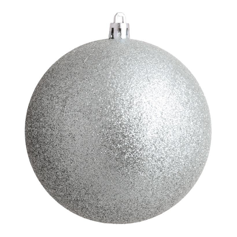 Weihnachtskugel, silber glitter, Ø 14cm