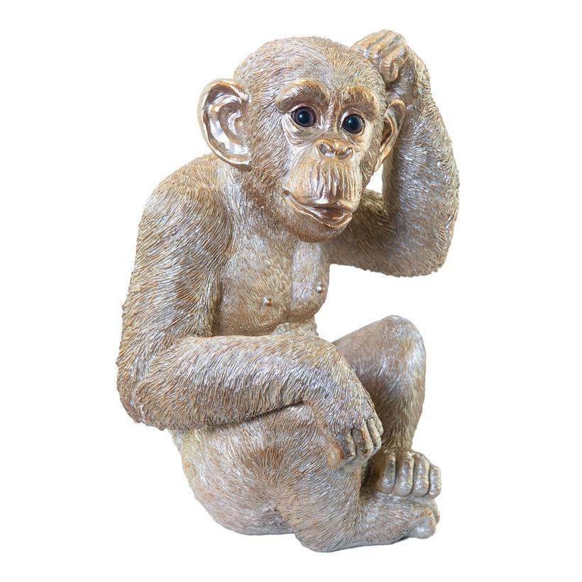 Affe, H: 32cm L: 22cm sitzend, aus Kunstharz