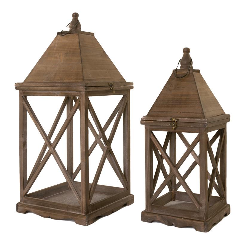 Holzlaternen, 21x21x51cm 28x28x64cm XXL, im 2er-Set, ineinander passend, ohne Fenster