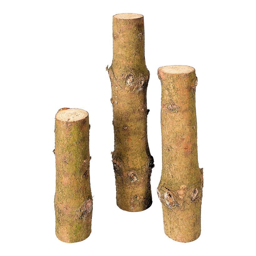 # Baumstammpodeste, Ø 8-9cm, 30, 40+50cm, 3tlg., Holz mit Rinde