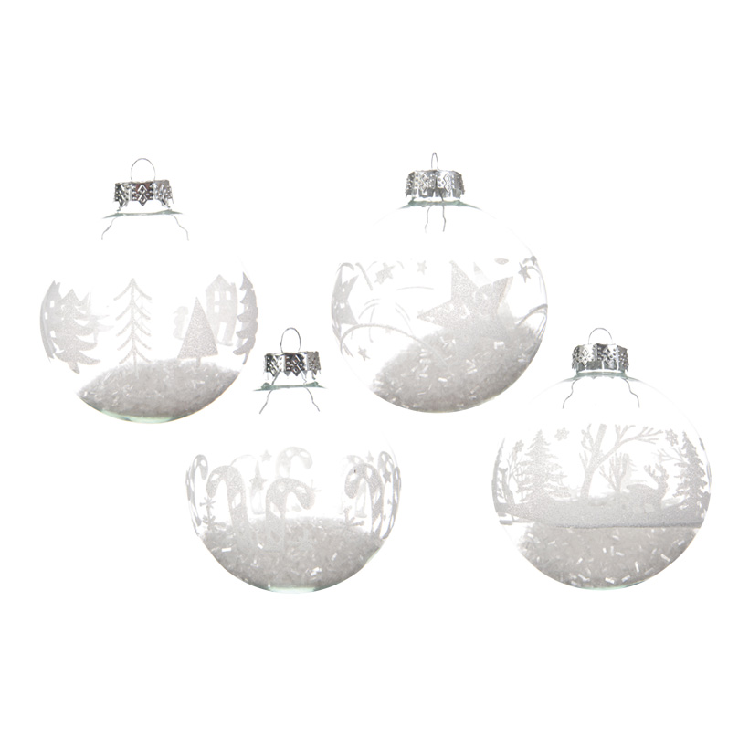 # Glaskugeln Ø 8cm gefüllt mit Kunstschnee, im 12er-Set, 4  Designs sortiert