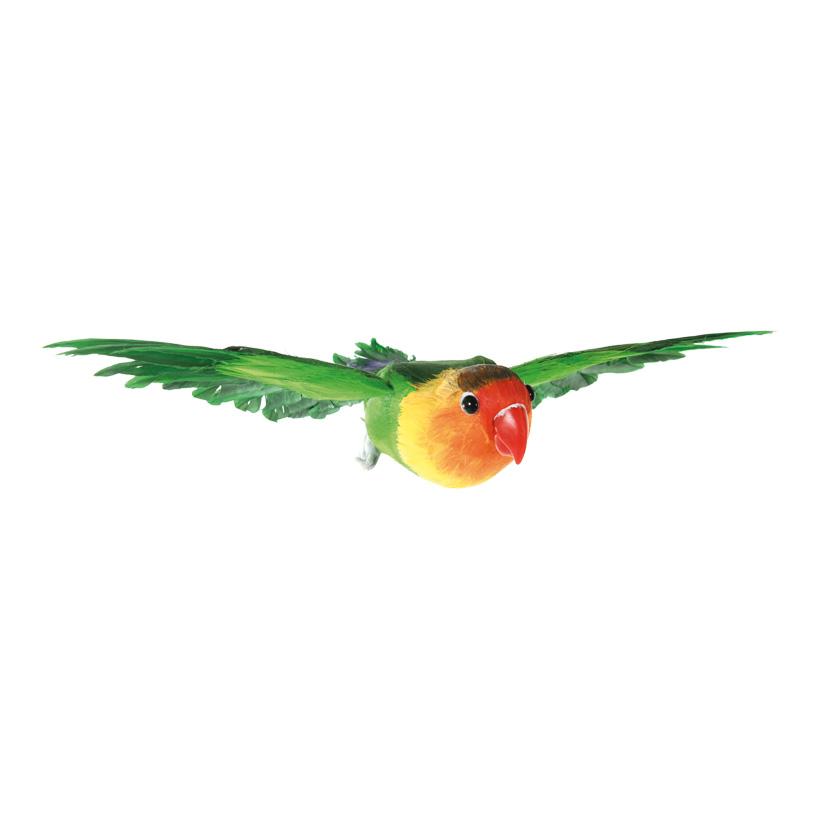 Papagei, 15x26x5cm fliegend, mit Nylonhänger, aus Styropor, mit Federn
