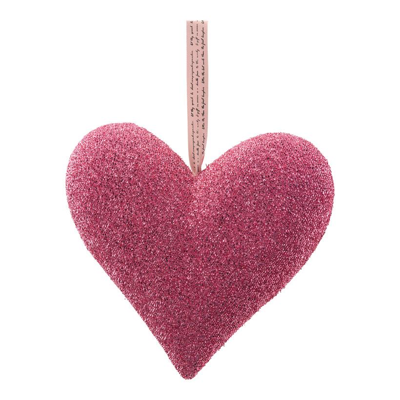 Herz mit Hänger, H: 32cm bezogen mit Glitterstoff, aus Hartschaum