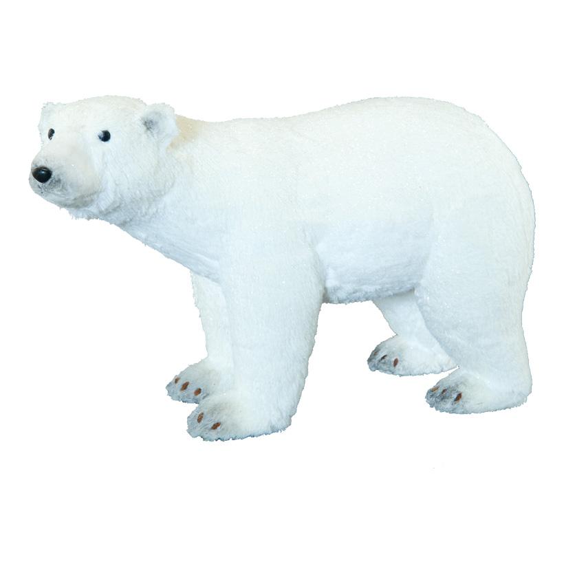 Eisbär, 54x23x34cm mit Glitter, aus Styropor/Kunstfell
