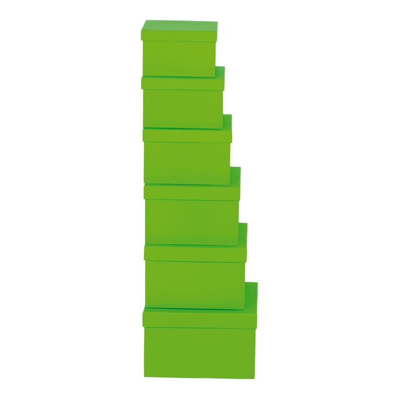 Boxen, 18,5x18,5x11,5, 20x20x12, 21,5x21,5x13,5, 24x24x14,5, 6Stck./Satz, nestend, Pappe, quadratisch, 15,5x15,5x9,5, 17x17x10