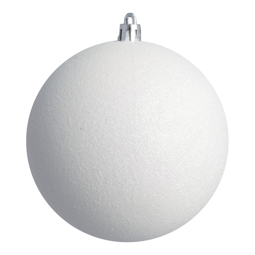 Weihnachtskugel, weiß glitter, Ø 8cm 6 St./Blister