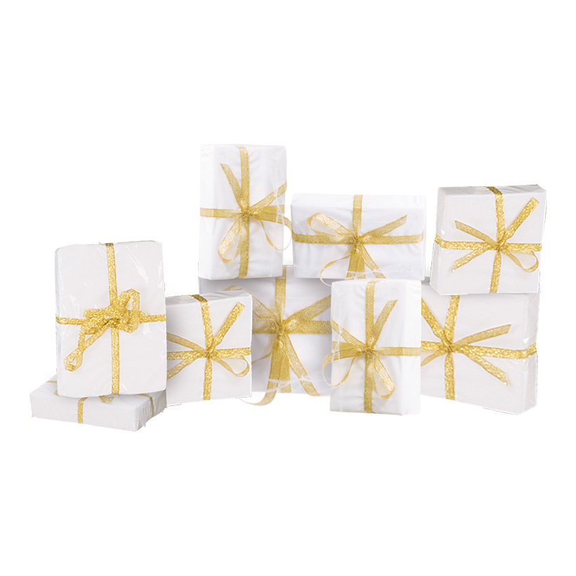 Geschenkpäckchenset, 9x9x3cm, 11x7x4cm, 15x10x3cm, 9-tlg., 3 Größen, Styropor/Folie