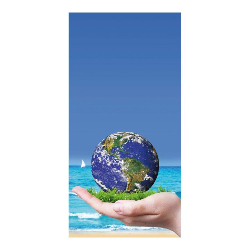 "# Motivdruck ""Save the world"", 180x90cm Papier"