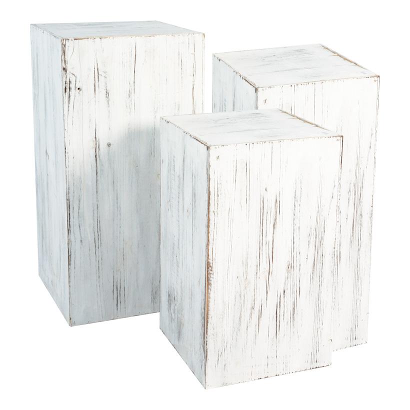 Podest, 80x40x40, 60x35x35, 40x30x30cm, 3Stck./Satz Holz, used look, ineinander passend