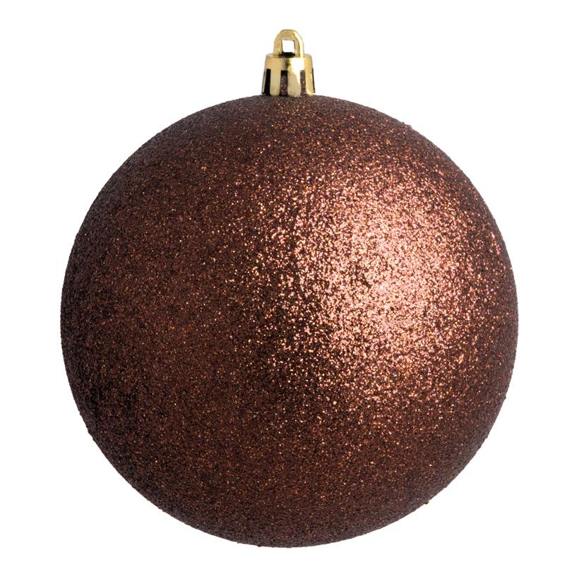 Weihnachtskugel, braun glitter, Ø14cm