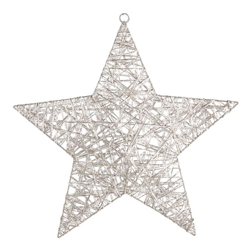 Stern, 60cm, beglittert, Metallrahmen mit Holzfaser umwickelt