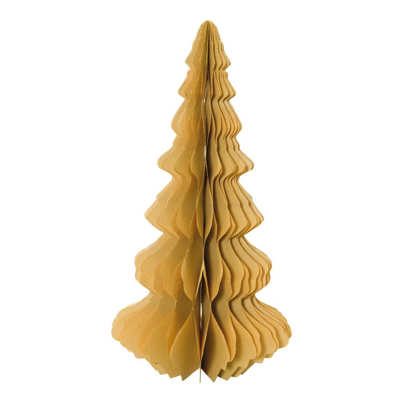 Tannenbaum, 40cm selbststehend, faltbar, aus Papier, mit gold glitzernden Rändern, mit Magnetverschluss